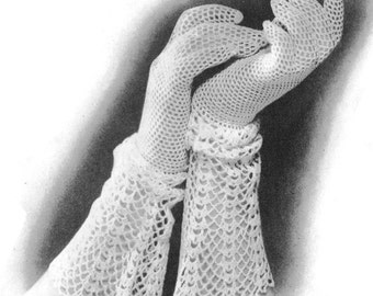 1930s Crocheted Glove with Lace Cuff Vintage Crochet Pattern PDF