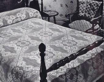 Filet Beauty Filet Crochet Vintage Bedspread Pattern PDF, c. 1941