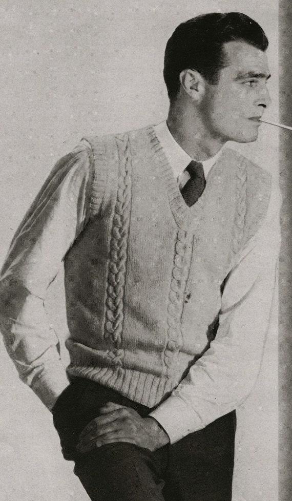 Knitting Pattern Men s Sweater Vest : Items similar to PDF of Mens Sweater Vest Knitting Pattern ...