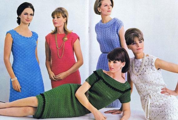 PDF of Minervas Petal-Shell Dress Vintage Crochet Pattern, c. 1950s