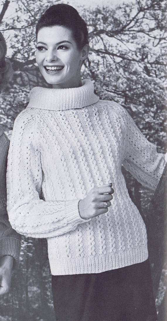 Cowl Neck Cabled Sweater Vintage Knitting Pattern PDF 1950s