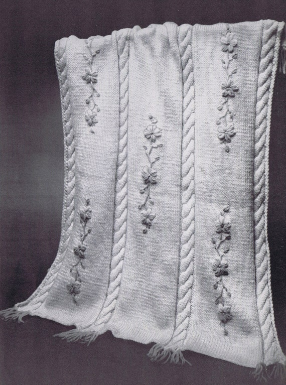 Free Vintage Knitting Patterns For Baby Blankets : Baby Blanket Vintage Knitting Pattern PDF by VintagePatternPlace