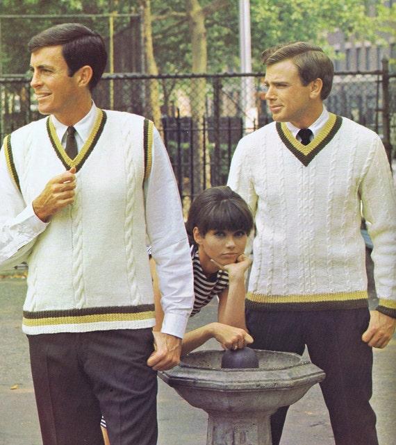 Mens Striped V-Neck Vest Vintage Knitting Pattern PDF 1960s