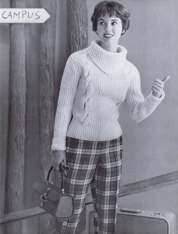 Cabled Turtleneck Vintage Knitting Patter Pdf 1950s