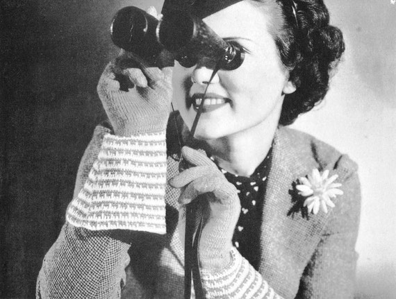 1930s Knit Fashion Gloves Vintage Knitting Pattern PDF