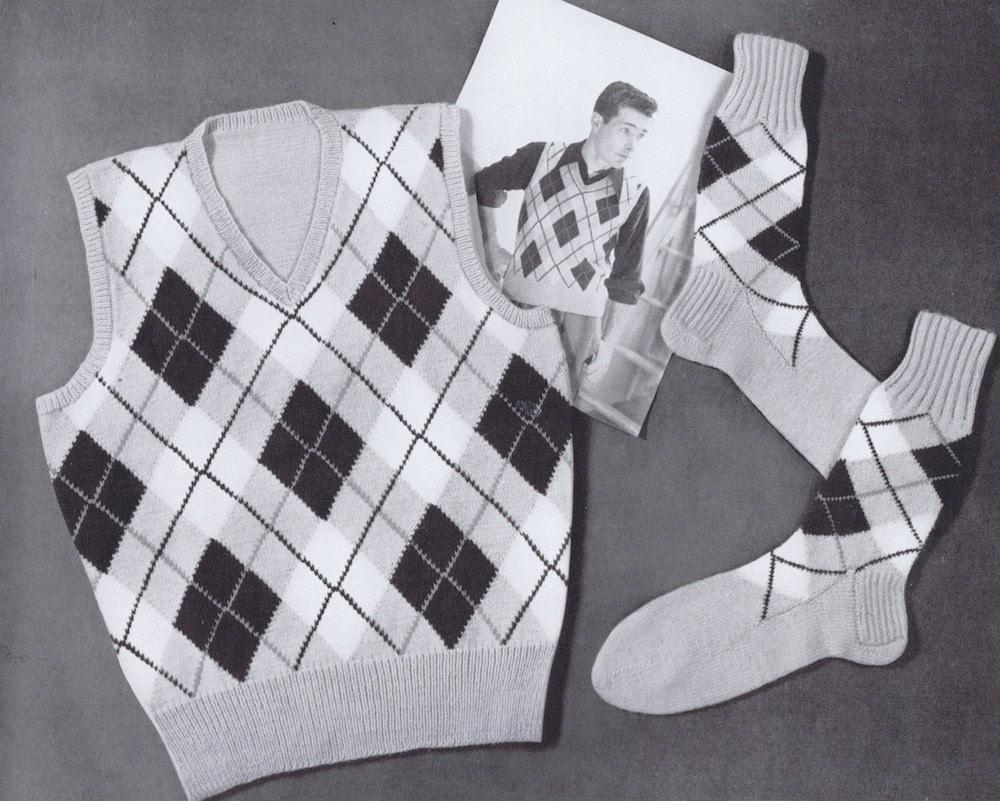 Knitting Pattern Argyle Sweater : PDF Mens Argyle Sweater Vest and Argyle by VintagePatternPlace