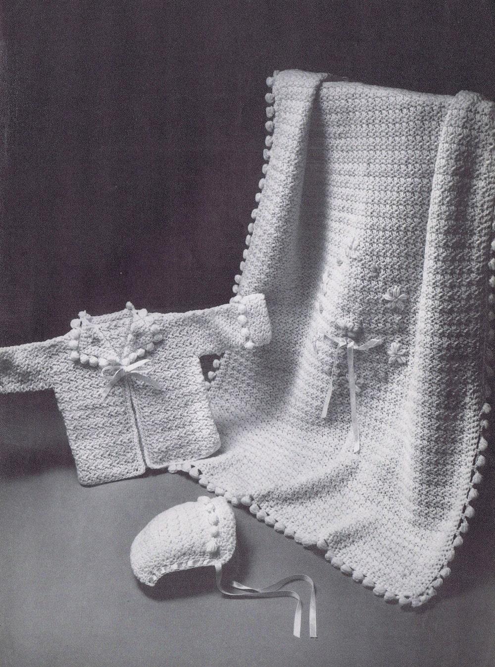 Baby Blanket Vintage Crochet Pattern Pdf Popcorn Stitch Pom