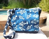 Blue Batik Fish Fabric Bag - nanioriginals