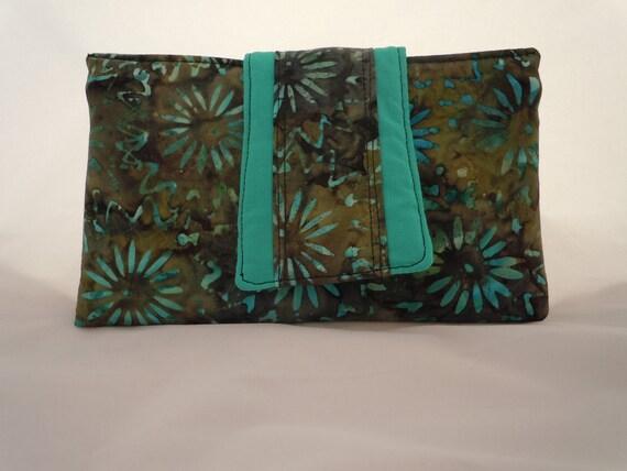 Green Batik Wallet Turquoise Flowers