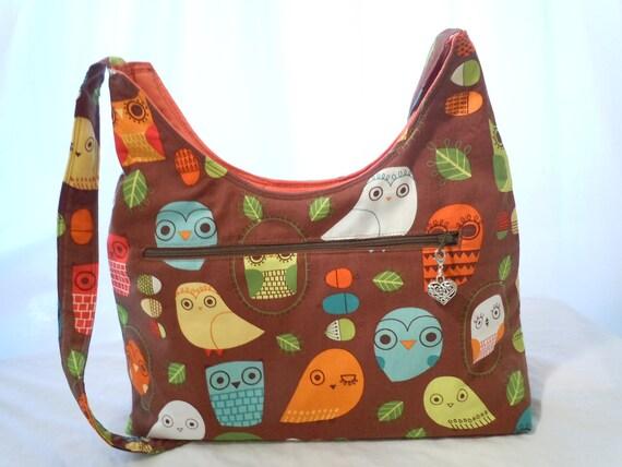 Owls Purse Mini Diaper Bag Brown Orange
