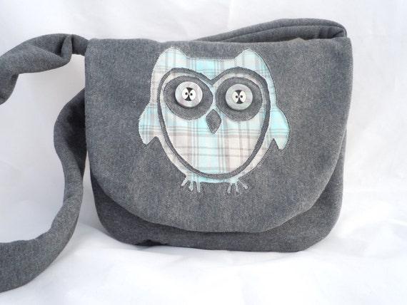 Owl Messenger Bag Sweatshirt Fabric