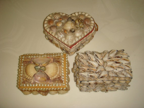 Instant Collection, Three Vintage Seashell Art Trinket Boxes