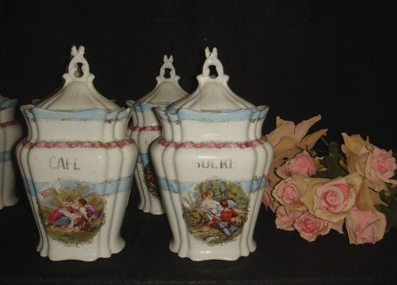 Set of 2 Vintage French Style Kitchen Storage Jars French Canisters, Cafe and Sucre, Shabby Chic