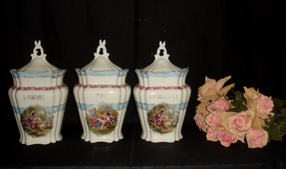 Set of 3 Vintage French Style Kitchen Storage Jars French Canisters, Farine, Riz and Vermicelle, Shabby Chic