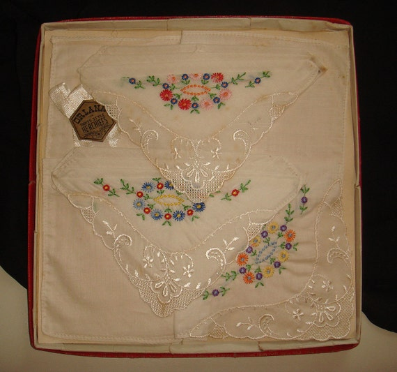 Vintage Hand Embroidered Handkerchiefs in Original Box, Set of 3 Swiss Style Hankies