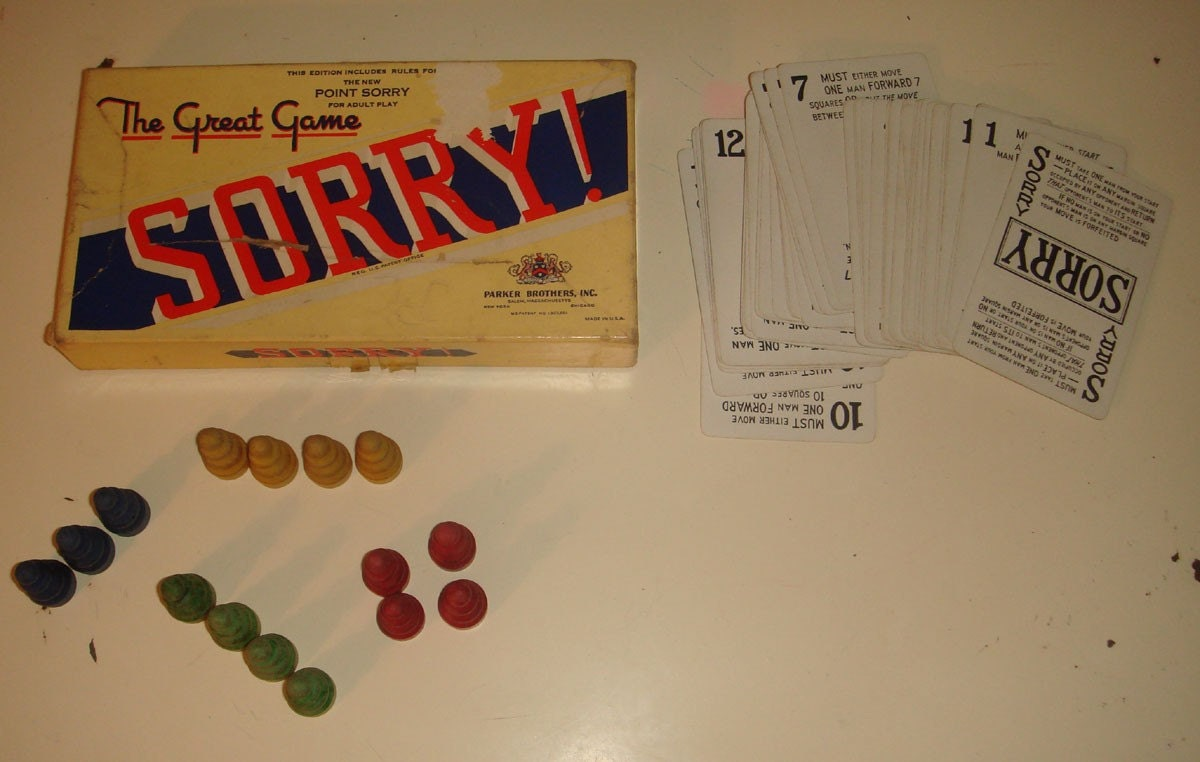 Vintage 1930s Sorry Game Playing Cards And By