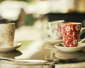 Cafe Photo 5 x7  Print, Cafe, Coffee, Street, Cups, Mugs, Chai, Cappucino, Red, white, tea, street cafe photo