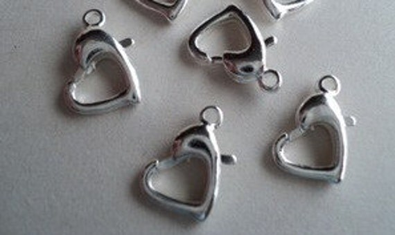 4 Sterling silver heart clasps 10x7mm