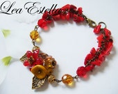 Red Yellow Topez Fiery Bright Summer Bracelet - Flame of the Forest