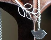 Mod Bird Lariat Bird Leaf Branch Necklace Silver