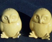 Adorable Vintage Yellow Owl Salt and Pepper Shakers or Figurines