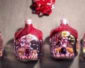 Retro Vintage Lot of 4 Houses Christmas Tree Ornaments Decorations