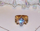 Vintage Estate Find 14kt HGE HUGE Pear Shaped Crystal Ladies Ring Size 8 With Open Circles on Band