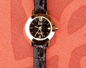 Vintage Ladies Essie Black and Gold Wrist Watch