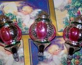 Retro Vintage Pink, Silver Glass Christmas Tree Ornaments