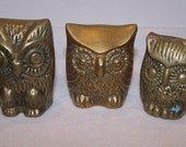 Trio of Brass Owl Paperweight or Figurine Shelf Sitters Knick Knacks