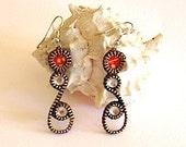 Zipper and rhinestone earrings
