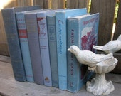 Vintage Books Decor Blue and Gray Book Stack Blue Beach Chic Home Library Decor 7 Books