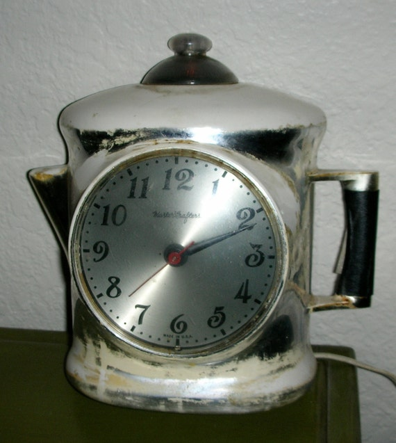 Retro Electric Kitchen Wall Clocks: Vintage Coffee Pot Kitchen Wall Clock Electric MasterCrafters