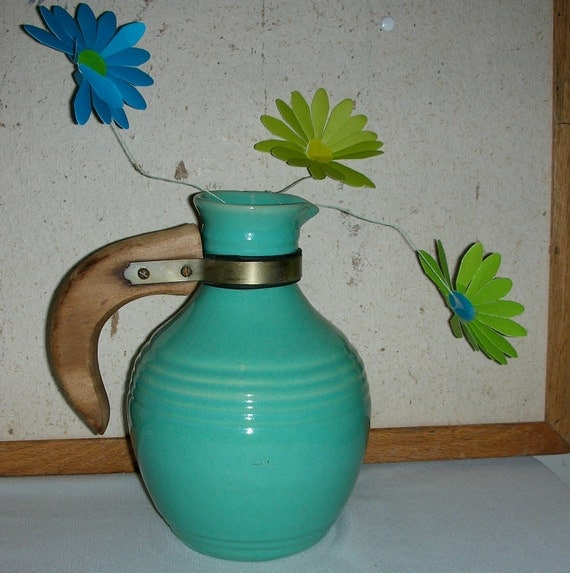 Vintage Turquoise Ceramic Pitcher Bauer Pottery With Wooden