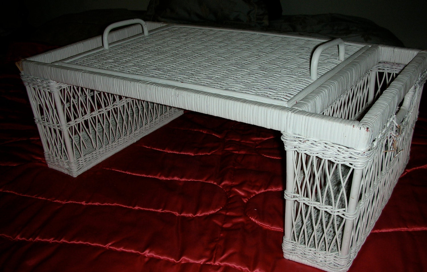 Vintage White Wicker Breakfast In Bed Tray Shabby Cottage