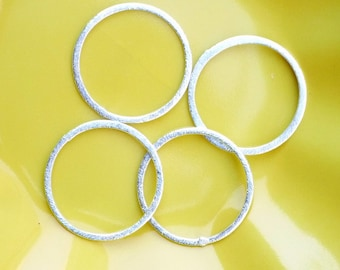 2pcs 20mm Sterling silver brushed  Round Spacer (20mm) 2 PIECES