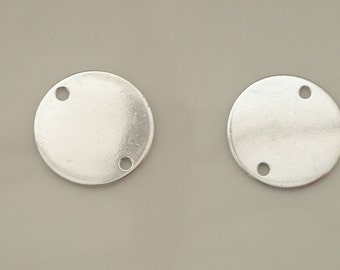 2 pcs Sterling silver disk with 2 holes, link, (14mm) 2 PIECES