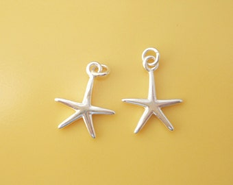 Sterling silver Starfish charm. pendant , (16x12mm),
