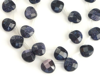 6 PCS Blue Sand Stone, faceted  heart briolettes (12x12mm)