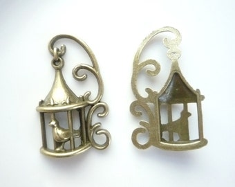 Antique brass Bird in a cage pendant  (36x21mm), 4 PIECES