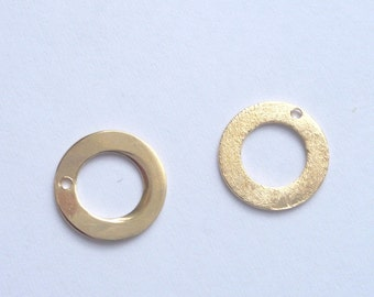 2 pcs Vermeil round finding with one hole ,  charms. pendant (10mm), 2 PIECES