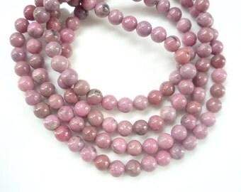 Full strand (6mm)  Rhodonite round beads