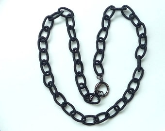 18 inches  Black Silk  necklace chain. link, finished