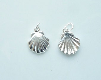 Sterling silver Sea shell charms (12x10mm), Please see quantity options
