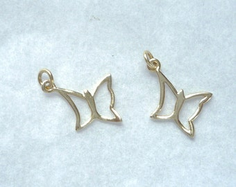 Gold vermeil butterfly charms, Golf plated sterling silver, double sided