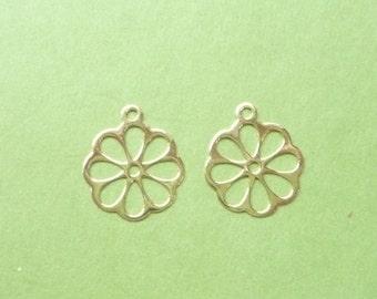 Gold Vermeil, flower charm , 2 PIECES (16x14mm) (Gold plated .925 sterling silver)