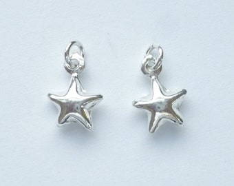 2 pcs Sterling silver ,   Star charm (11X8mm).