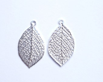 Sterling silver  Leaf  Findings, charm, pendant,  (23x13mm) 2 pieces
