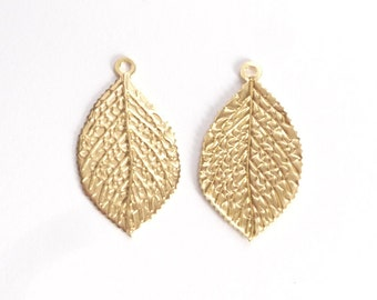 2pcs Gold Vermeil Leaf  Findings, charm, pendant, BACK IN STOCK   (23x13mm), gold plated over .925 sterling silver