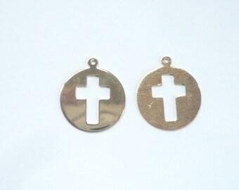 Vermeil round pendant with cross cutout  charm ( 16x18mm), cross pendant, cross